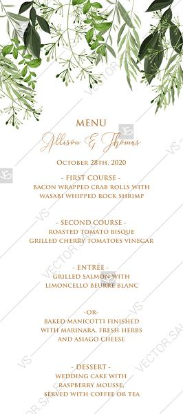 Wedding - Menu design greenery herbal watercolor template edit online 4x9 in pdf