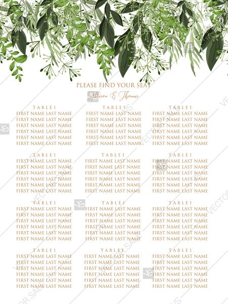 Wedding - Seating Chart wedding watercolor greenery herbal template edit online 18x24 in pdf