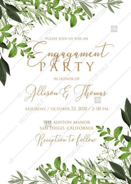 Engagement Invitation Watercolor Greenery Herbal Template Edit