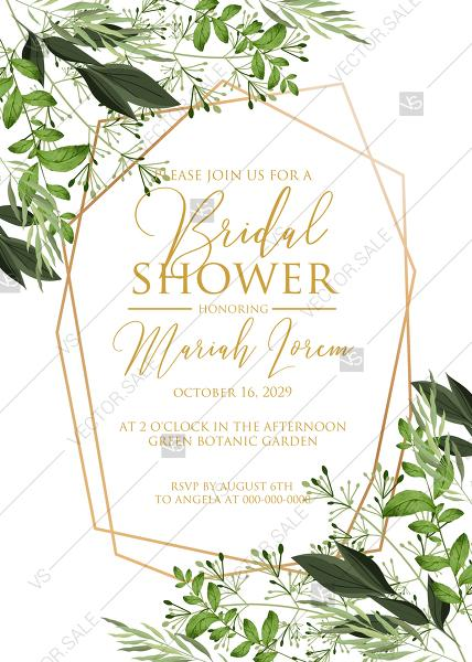 Mariage - Bridal shower invitation watercolor greenery herbal template edit online 5x7 in pdf