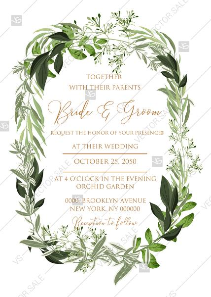 Свадьба - Wedding invitation wreath greenery herbal template edit online 5x7 in pdf