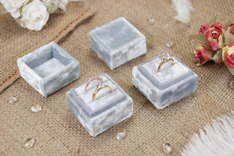 زفاف - Square velvet ring box - Gray velvet - Vintage ring box - Wedding gift - Monogram ring box - Double ring box