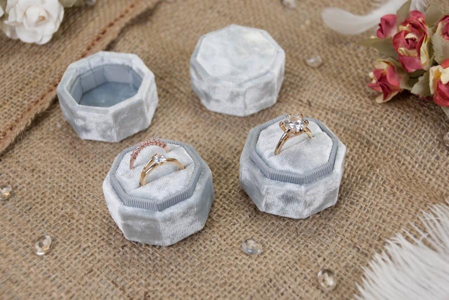 Hochzeit - Octagonal velvet ring box - Gray velvet - Vintage ring box - Wedding gift - Monogram ring box - Double ring box