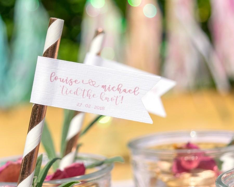 Mariage - Personalised wedding straws, wedding decor, straw flags, paper straws, custom straws, rose gold wedding, custom straws, wedding favours, alt