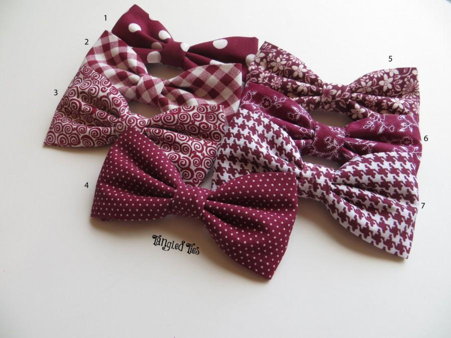 Mariage - Red Burgundy Bow Tie, Mismatch Bow Tie, Burgundy Bow Tie, Ring Bearer Outfit, Wedding Bow Ties