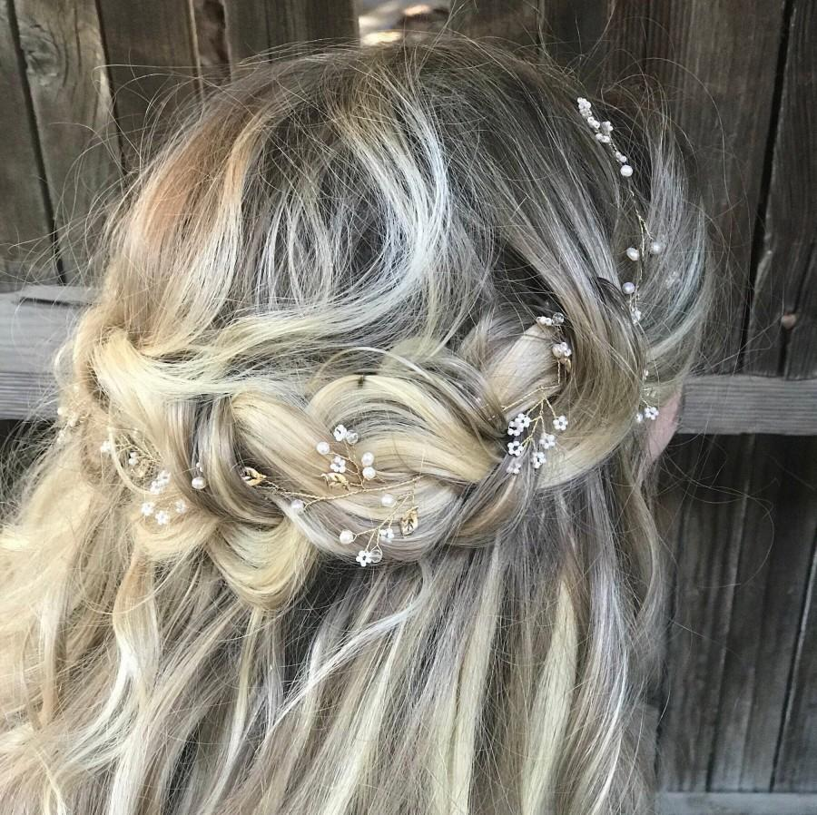 Mariage - Delicate Gold Hair Vine, Pearl Hair Vine, Wedding Hair Accessory, Bridal Wreath, Wedding Hair Vine, Pearl Hair Crown
