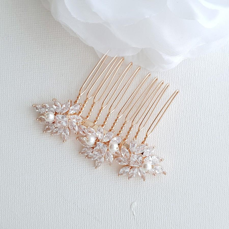 Hochzeit - Bridal Hair Comb Rose Gold, Wedding Headpiece, Small Bridal Comb, CZ Crystal and Pearl Hair Slide, Bridal Hair Jewelry, Bridget