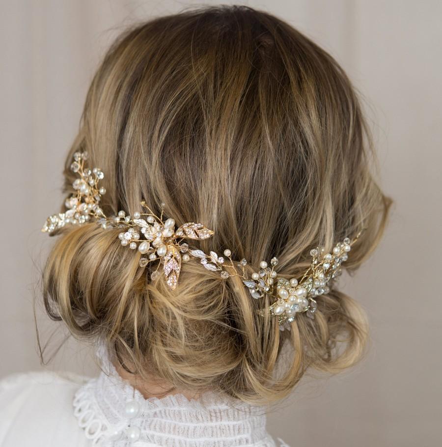 Hochzeit - Woodland Wedding Hairvine - Gold Leaf, Pearl, Crystal bridal hair accessory, hairpiece, vine, headdress, tiara hair adornment boho headpiece