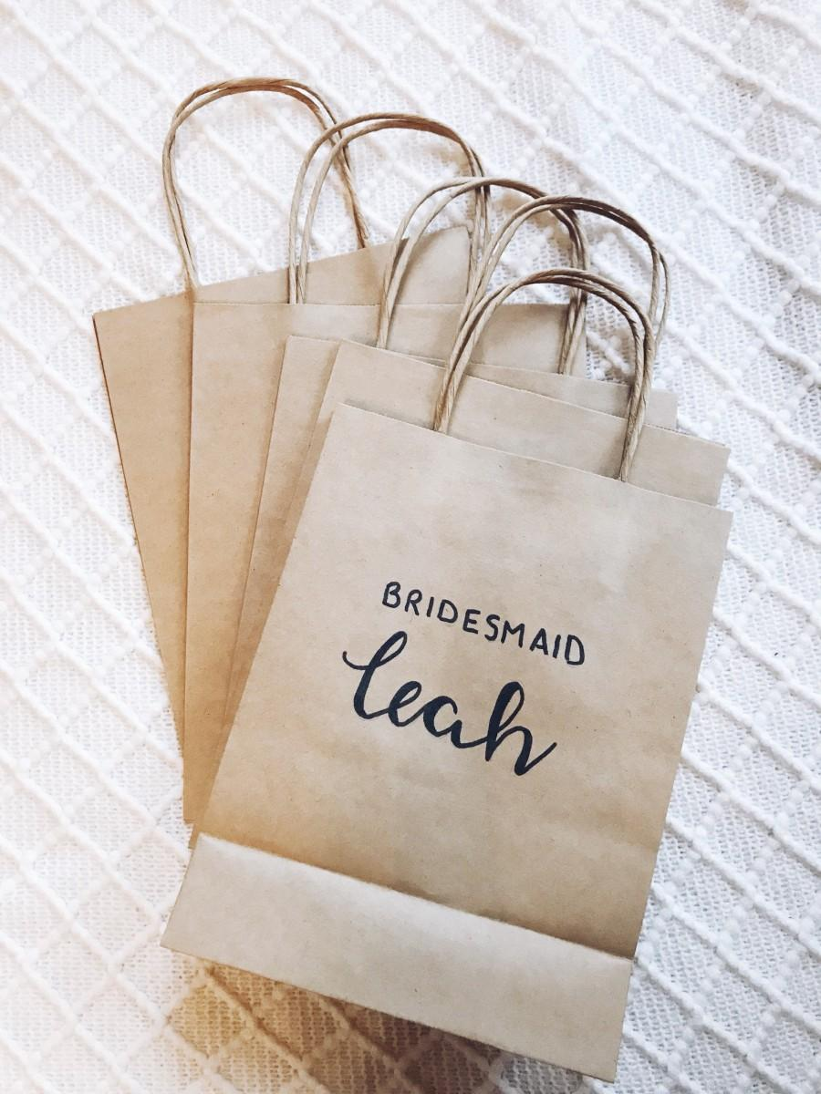Свадьба - Personalised bridesmaid gift/hen party/birthday party kraft bag
