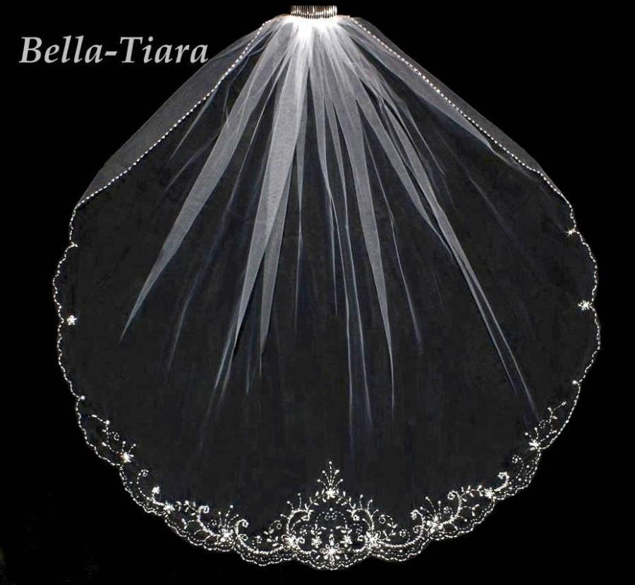 Mariage - beaded crystal wedding veil, beaded wedding veil, one tier beaded veil, crystal beaded wedding veil, beaded bridal veil