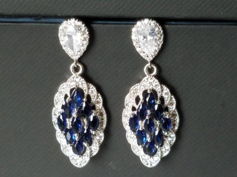 Свадьба - Navy Blue Bridal Earrings, Marquise Wedding Earrings, Sapphire Cubic Zirconia Silver Earrings, Wedding Earrings, Dark Blue Statement Earring