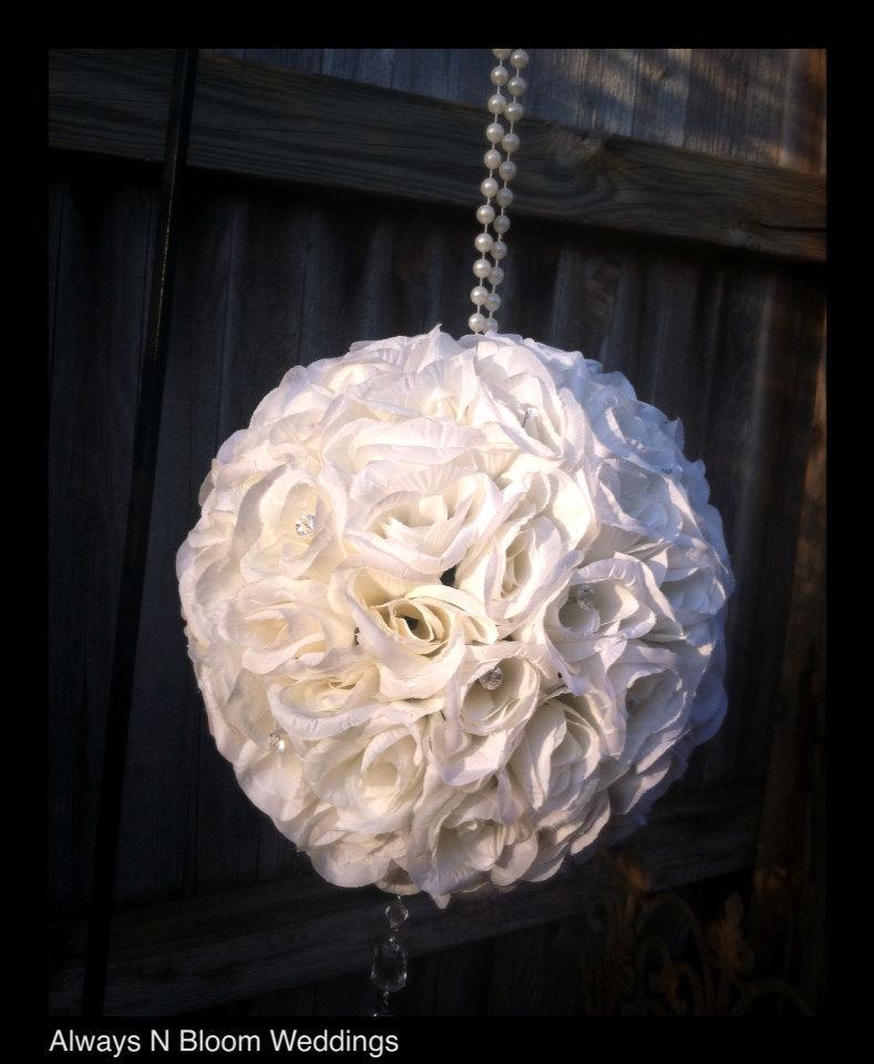 "Mariage - 8"" off white/ivory rose pomander SET of 6"