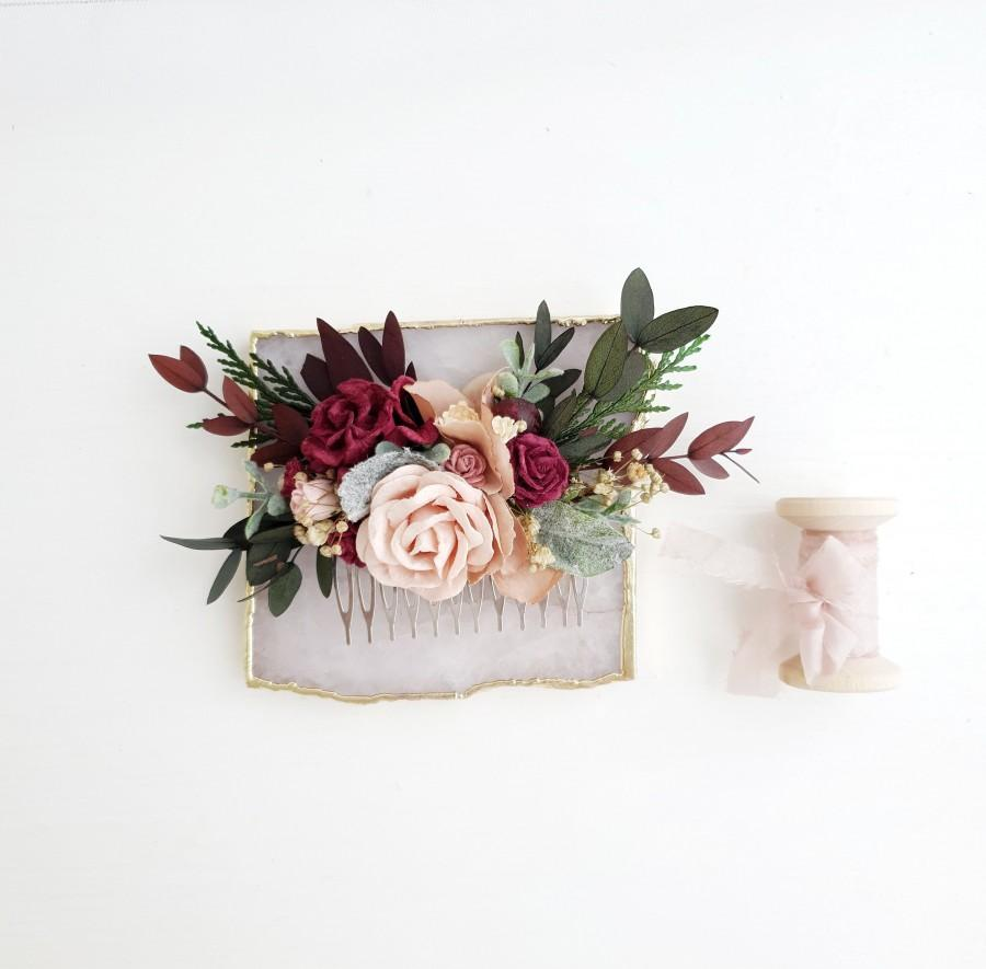 Mariage - Burgundy flower Hair comb, Deep red Bridal hair comb, Wedding hair comb, Bridal flower headpiece, Wedding headpiece, Winter wedding