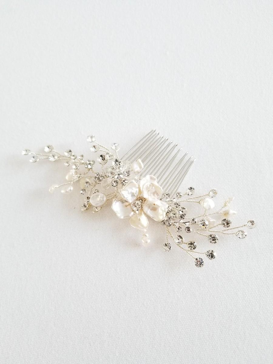 Wedding - Pearl Bridal Hair Comb, Pearl Crystal Hair Comb, Pearl Wedding Hair Comb, Wedding Hairpiece Comb