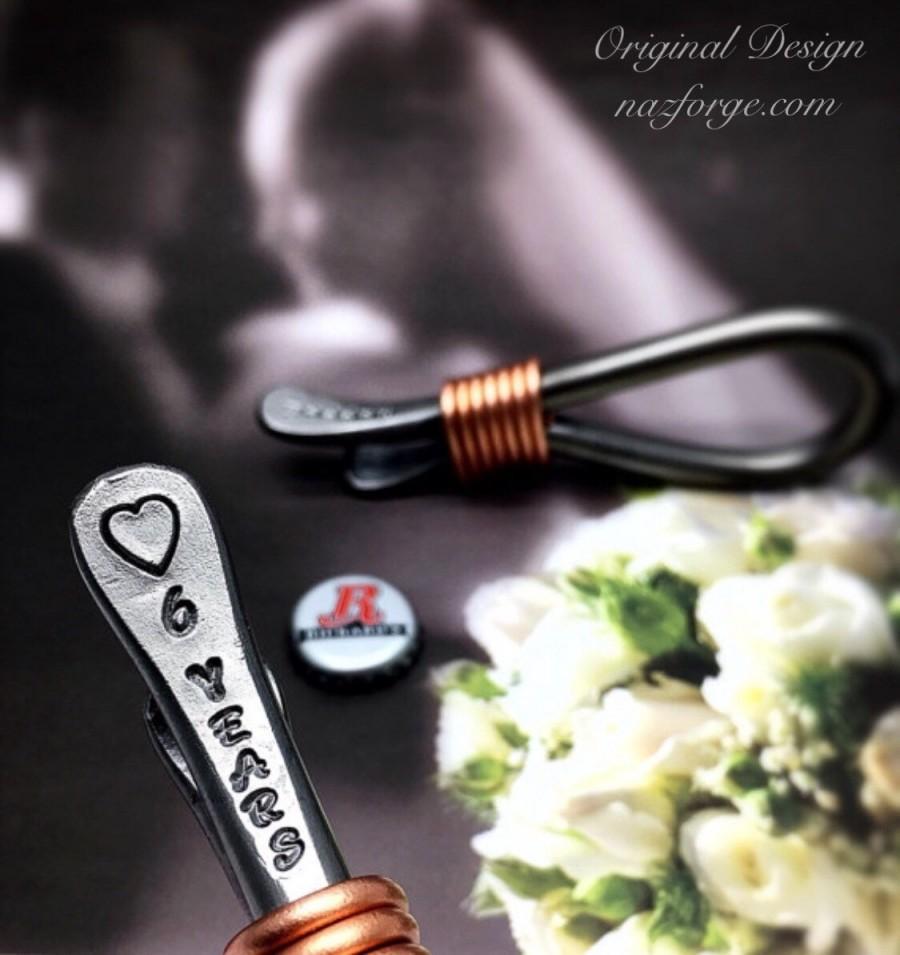 Wedding - 6th Year Iron Wedding Anniversary Gift Bottle Opener for Husband or Couple - 6 Years & Heart - Him - 6 Sixth Wedding Theme - Metal Steel Naz