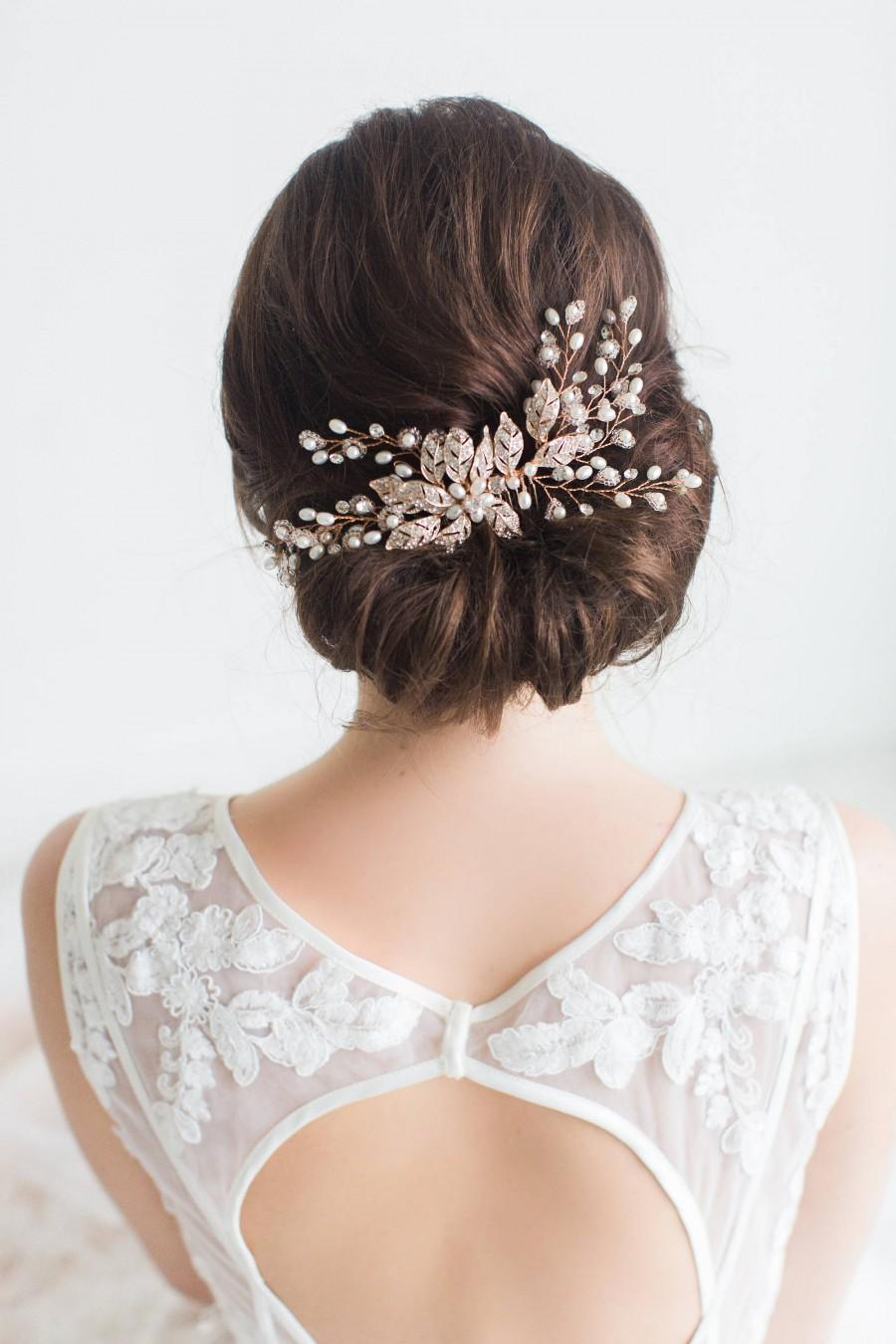Wedding - Rose Gold Wedding Hair Comb, Rose Gold Wedding Hairpiece, Crystal Bridal Comb, Bridal Headpiece, Freshwater Pearl Beaded Hair Comb