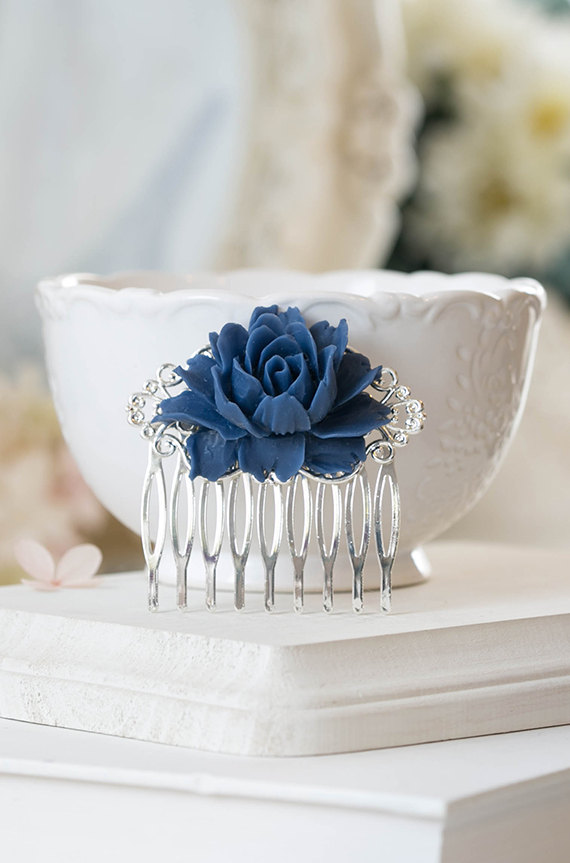 Mariage - Navy Blue Rose Flower Silver Bridal Hair Comb Silver Filigree Dark Blue Floral Hair Comb Navy Blue Wedding Hair Accessory Bridesmaid Gift