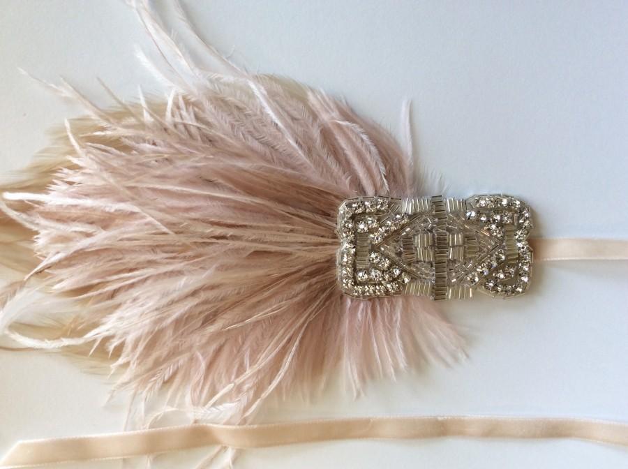 Wedding - GREAT GATSBY headband Blush beige feathers headpiece, Fascinator Headband, 1920s Headband Crystal headpiece ostrich feathers Custom headband