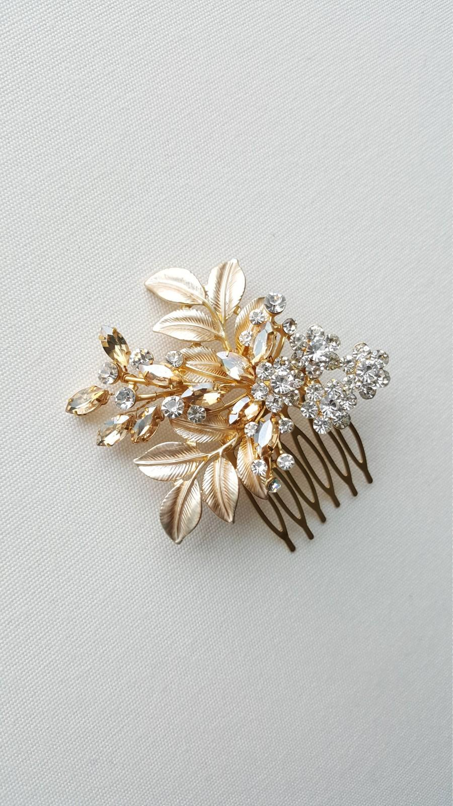 Mariage - Gold Bridal Hair Comb, Wedding Headpiece, Gold Bridal Comb, Gold Wedding Hair Comb