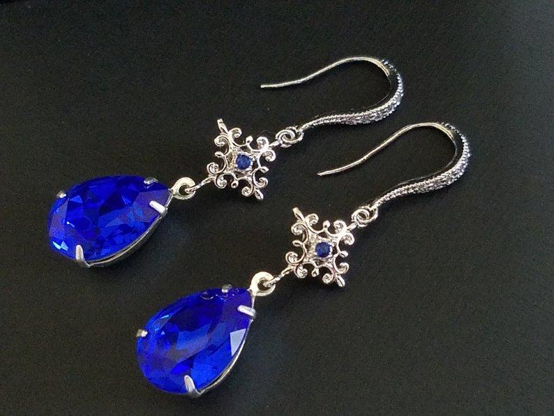 Wedding - Blue Crystal Earrings, Cobalt Blue Silver Earrings, Swarovski Majestic Blue Chandelier Earrings, Sapphire Bridal Earrings, Wedding Jewelry
