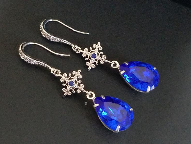 Hochzeit - Blue Crystal Earrings, Cobalt Blue Silver Earrings, Swarovski Majestic Blue Chandelier Earrings, Sapphire Bridal Earrings, Wedding Jewelry