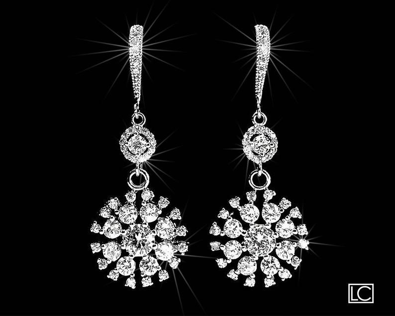 Wedding - Cubic Zirconia Bridal Earrings Crystal Chandelier Wedding Earrings Luxury CZ Wedding Earrings Clear CZ Dangle Earring Bridal Crystal Jewelry