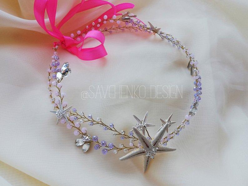 Mariage - Purple Starfish Crown