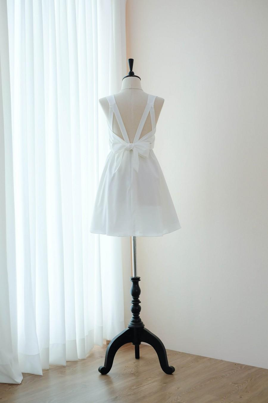 Свадьба - Off White dress White Bridesmaid dress Wedding Prom dress Cocktail Party dress Evening dress Backless bow dress