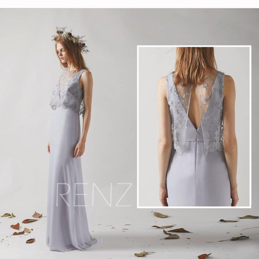 Свадьба - V Back Party Dress Bridesmaid Dress Light Gray Chiffon Dress Illusion Jewel Neck Maxi Dress Sleeveless Fitted Prom Dress Wedding Dress(H443)