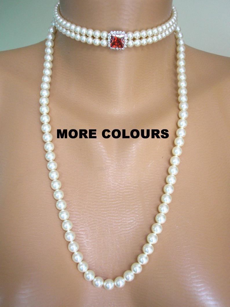 Hochzeit - Long Pearl Necklace, Swarovski Pearls, 2 Strand Pearl Choker, Detachable Strands , Bridal Choker, Art Deco Style, Wedding Jewelry, Prom