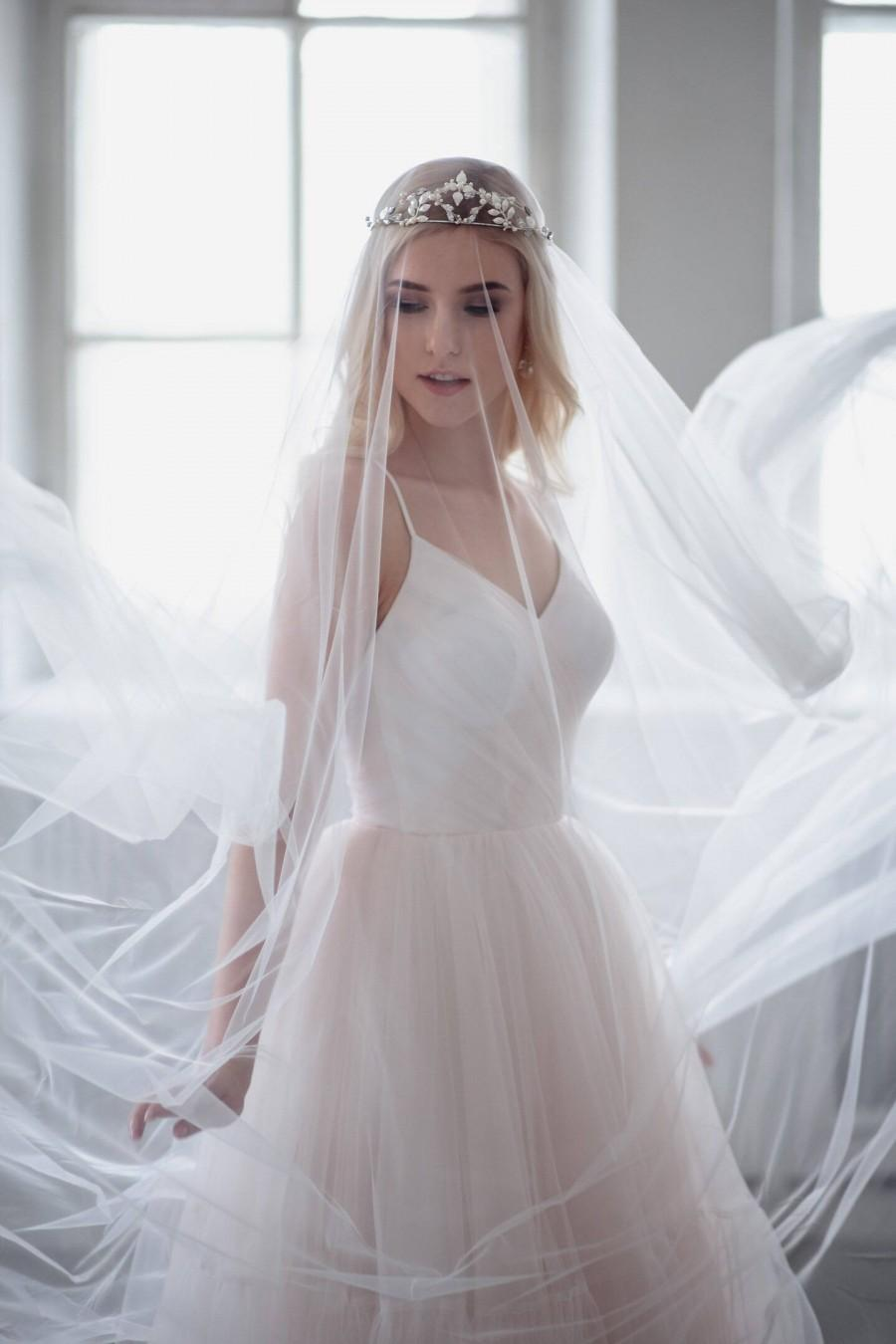 Wedding - Wedding Veil Soft Tulle Bridal Veil Simple Elegant Cathedral Veil Soft Wedding Veil One Tier White Ivory Veil Raw Edge Chapel Veil