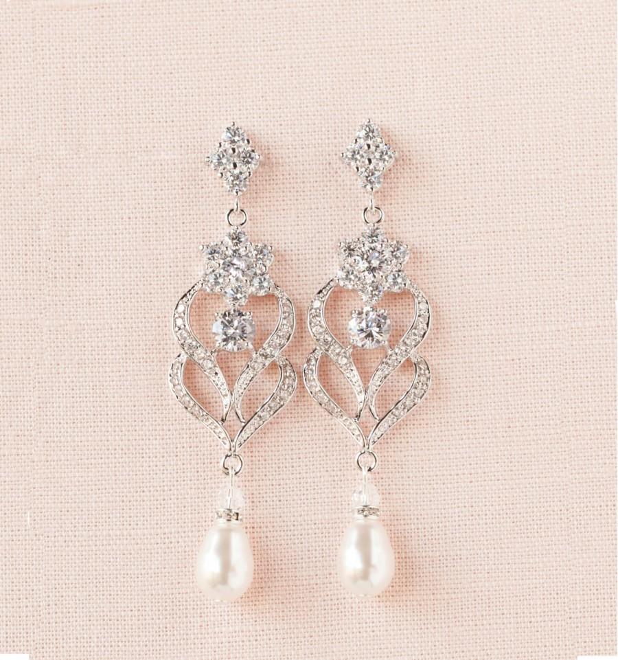 Mariage - Wedding Earrings, Wedding Jewelry, Chandelier wedding earrings, Swarovski Crystal, Bridesmaids, Kathryn Crystal Earrings