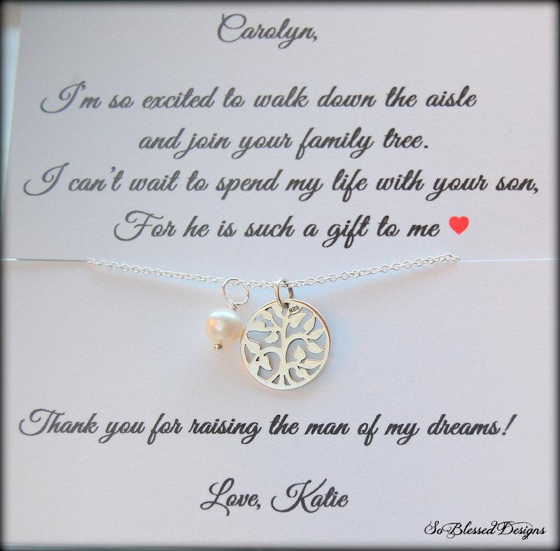 Mariage - Mother of the Groom Jewelry, Mother of Groom necklace, Mother of the Bride card, mother of groom from bride, wedding gift