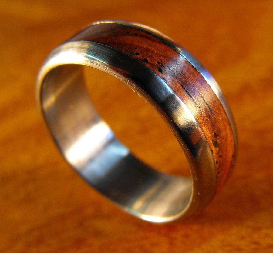 Wedding - Titanium Ring with Cocobolo Wood Inlay, Mens Wedding Band, Custom Made Ring, Wooden Ring