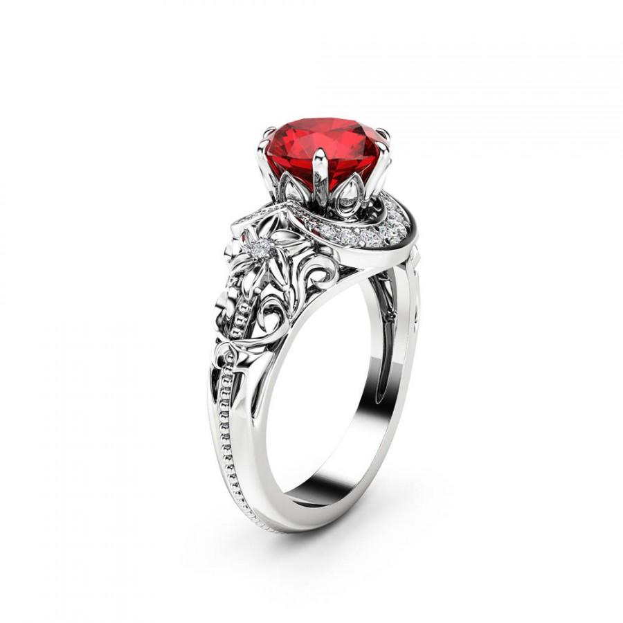 Mariage - 2 Carat Ruby Engagement Ring 14K White Gold Halo Ring Ruby Floral Engagement Ring