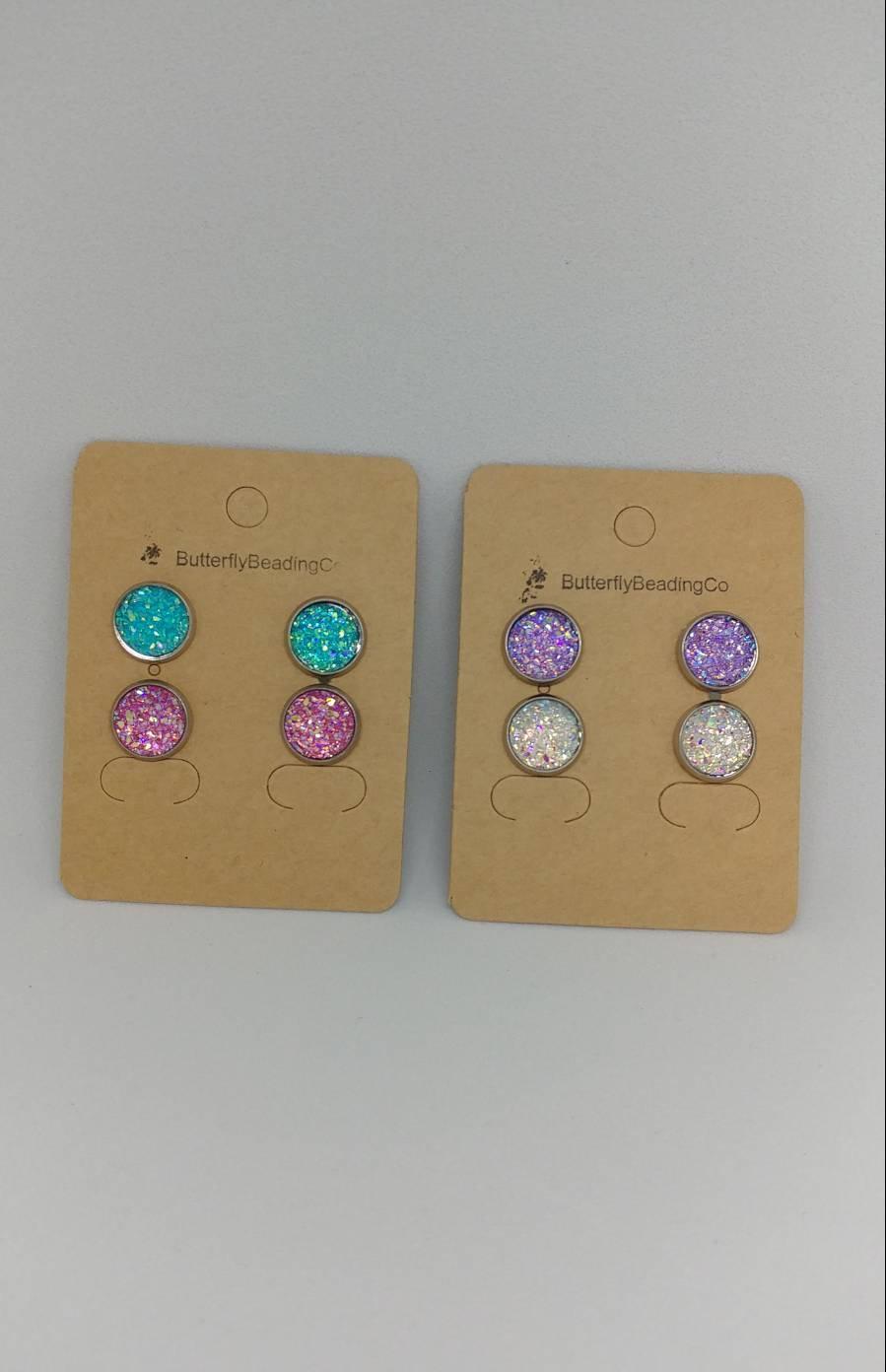 Wedding - Women's or girl's blue pink purple white cabochon earrings sparkly stud earrings mermaid earrings geode earrings studs