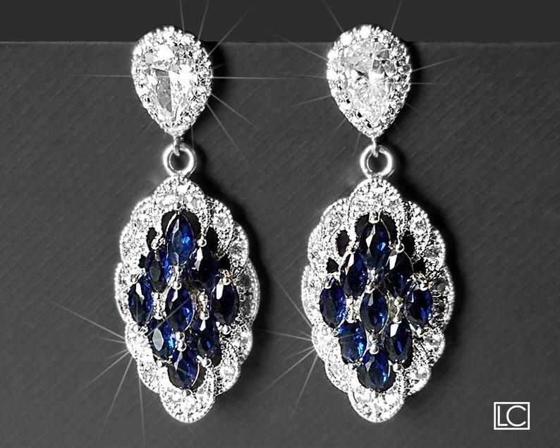Wedding - Navy Blue Bridal Earrings, Marquise Wedding Earrings, Sapphire Cubic Zirconia Silver Earrings, Wedding Earrings, Dark Blue Statement Earring