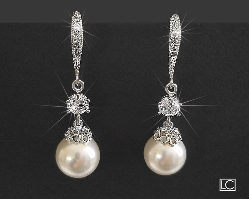 Hochzeit - Pearl Bridal Earrings, White Pearl Chandelier Earrings, Wedding Pearl Dangle Earrings, Bridal Pearl Silver Earrings, Pearl Bridal Jewelry