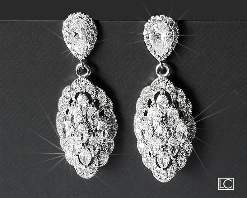 Hochzeit - Cubic Zirconia Bridal Earrings, Marquise Crystal Earrings, Wedding Chandelier Earrings, Sparkly Earrings, Statement Earrings, Bridal Jewelry