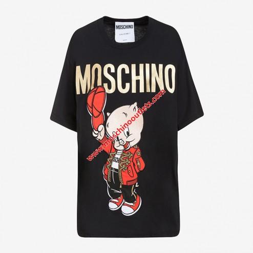 Mariage - Moschino Chinese Pig Year Womens Short Sleeves T-Shirt Black
