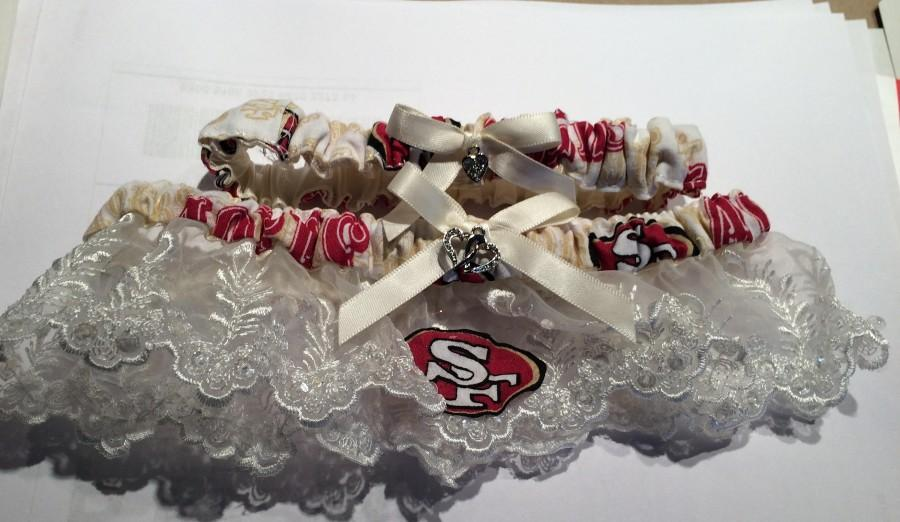 Mariage - San Francisco 49ers football Wedding Bridal Bride  Ivory Cream Lace trim Sequin Garter set