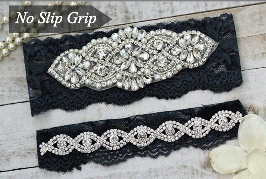 Свадьба - Navy Wedding Garter Set NO SLIP grip, Something Blue, NAVY A01S-A*B19S