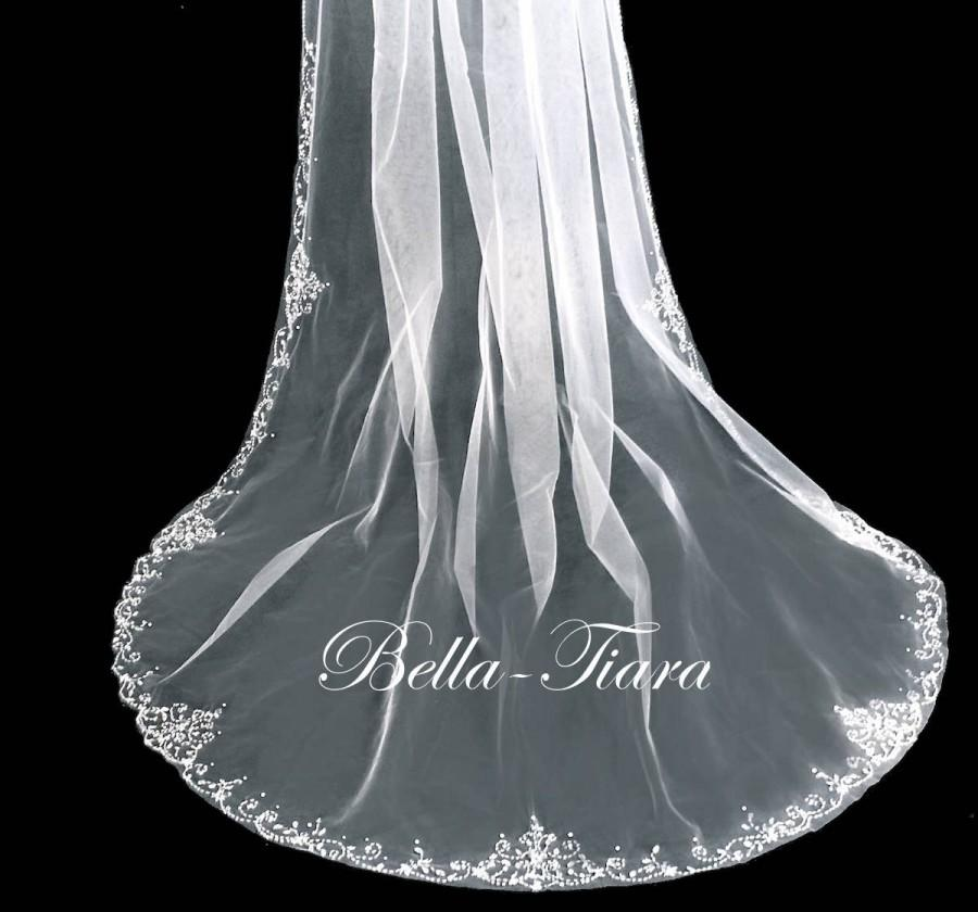 زفاف - cathedral beaded wedding veil, extra crystal cathedral veil, floor length wedding veil, royal cathedral veil - free blusher