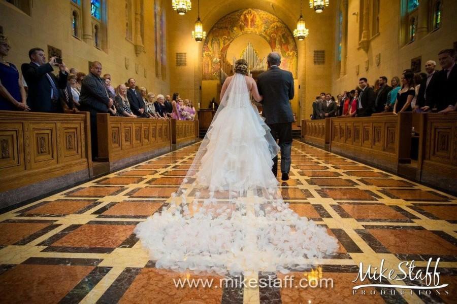 Wedding - SALE - 3D Flower Petal Veil Cathedral Length