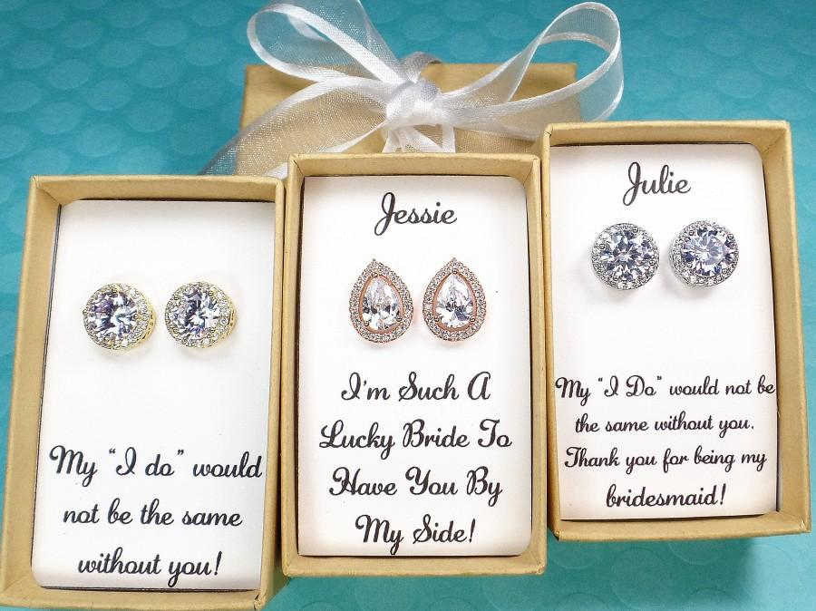 Hochzeit - Custom Personalized Bridesmaid gifts, bridesmaid earrings, Bridesmaid Proposal, wedding earrings, tear drop earrings, bridal party gifts