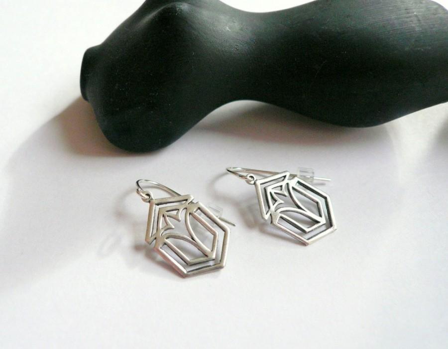 Hochzeit - Silver earrings, Art deco earrings, Frank Lloyd Wright, handmade Geometric dangles, 1920s silver dangles, Sterling earrings, Gift for mom.