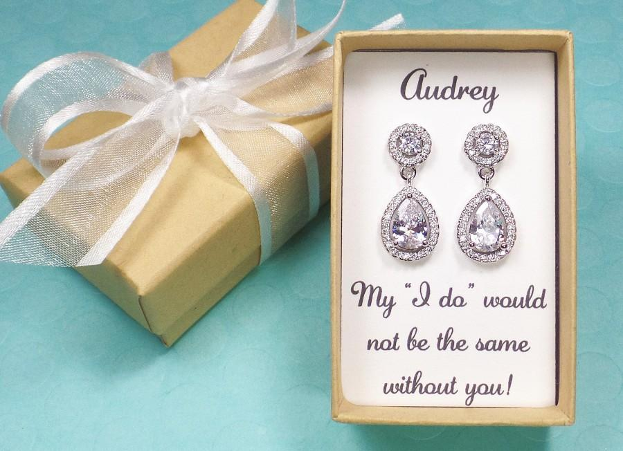 Mariage - Bridesmaid Earrings, Bridesmaids Gifts, Teardrop Cubic Zirconia earrings, Bridesmaid gift set, Bridal earrings, wedding earrings