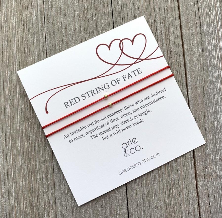 Hochzeit - Red String of Fate Bracelet, Red String Bracelet, Couples Bracelet, Love and Friendship Bracelet, Hilo Rojo del Destino, Him and Her Gift