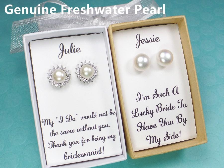 Hochzeit - bridesmaid gifts, bridesmaid earrings, freshwater pearl stud earrings, white pearl earring, wedding earrings, bridal earrings,bridal jewelry