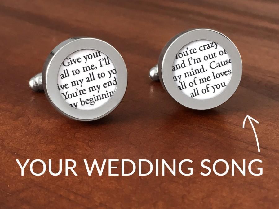 Hochzeit - First Anniversary Gift for Him / One Year Anniversary / 1 Year Anniversary Gift for Him / Customized Wedding Song Cufflinks / #1 BEST-SELLER